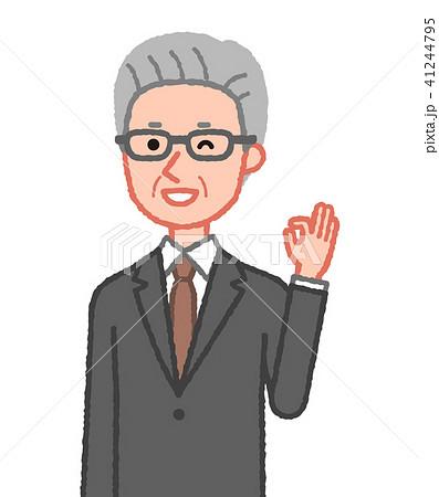 スーツ OKサインをするシニア男性 斜め 41244795