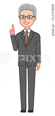 スーツ 指差しをするシニア男性 斜め 41244800