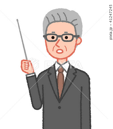 スーツ 指示棒を持ち注意を促すシニア男性 斜め 41247245