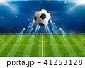 Soccer ball, bright spotlights, soccer stadium 41253128