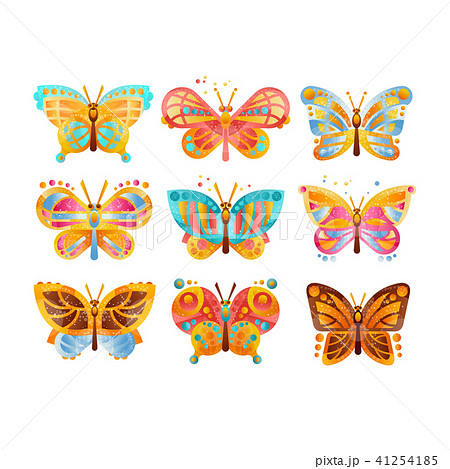 Beautiful colorful butterflies set vector Illustrations on a white background 41254185