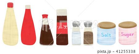 手描き 調味料セット 塩 胡椒 ソース 醤油 砂糖 ケチャップ マヨネーズ 41255338