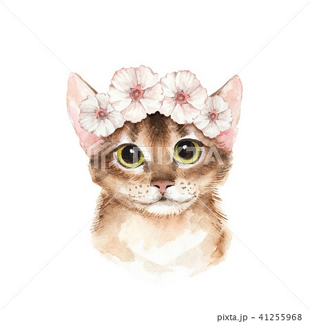 Cat in white wreath. Watercolor illustration 41255968