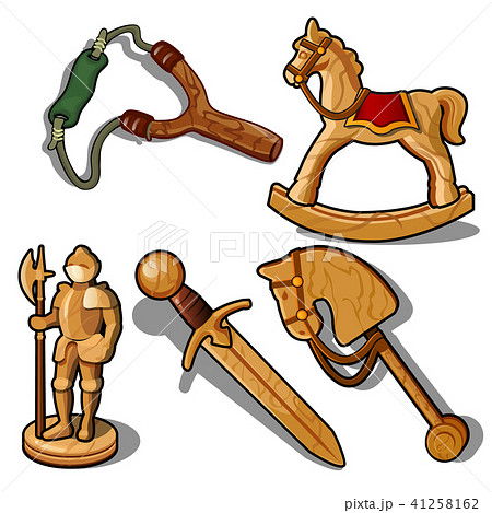 Set of toys made of wood isolated on white background. Vector illustration. 41258162