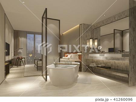 modern luxury bedroom suite and bathroom 41260096