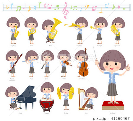 Mash hair blue cardigan women_classic music 41260467