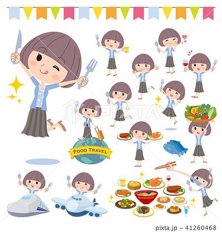 Mash hair blue cardigan women_food festival 41260468