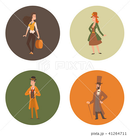 Vintage victorian cartoon gents retro people vector. Style fashion old people victorian gentleman 41264711