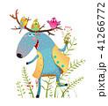 ヘラジカ 大鹿 鳥のイラスト 41266772