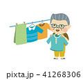 洗濯物を干す男性 41268306