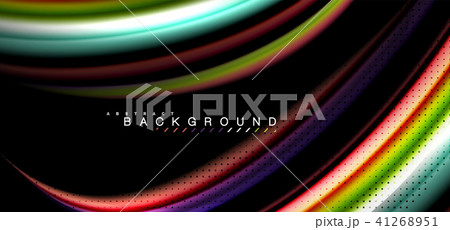 Multicolored wave lines on black background design 41268951