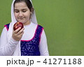 Portrait of teenage beautiful girl with red apple 41271188