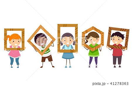 Stickman Kids Wood Class Frames Illustration 41278363