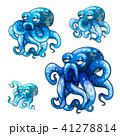 Set of stages of growth of animated octopus isolated on white background. Vector cartoon close-up 41278814