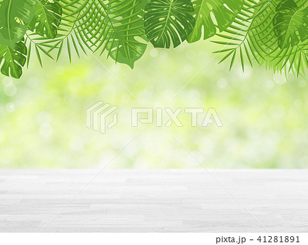 wood table top on green bokeh abstract background 41281891