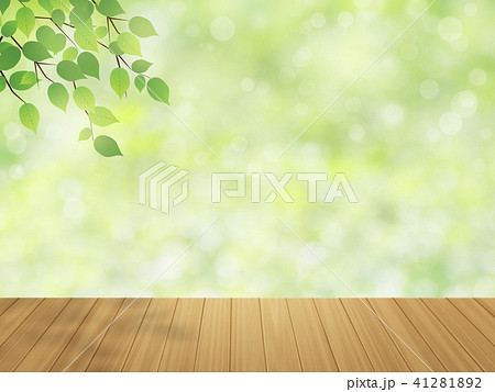 wood table top on green bokeh abstract background 41281892