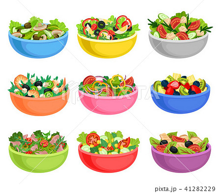 Flat vector set of vegetable and fruit salads. Appetizing dishes from fresh products. Organic and 41282229