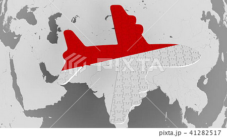 Airplane puzzle featuring flag of Indonesia against the world map. Indonesian tourism conceptual 3D 41282517