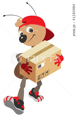 Ant courier makes delivery of cardboard box 41283984