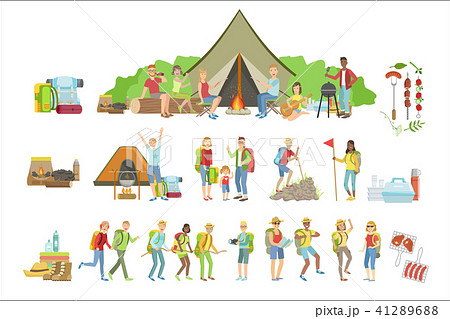 People Camping And Their Equipment Set 41289688