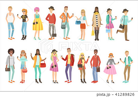 hipsters and modern fashion trends setのイラスト素材 41289826 pixta