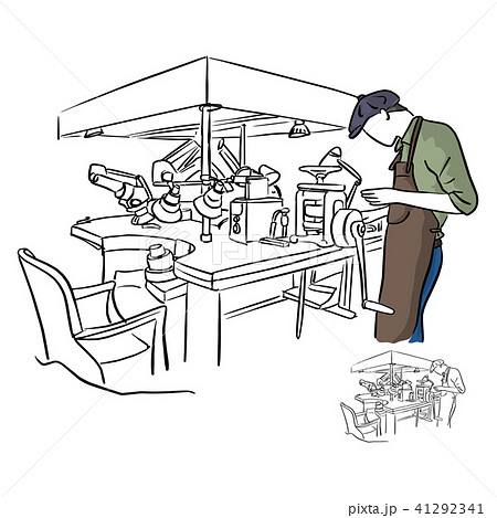 jeweler working in jewel shop vector illustration  41292341