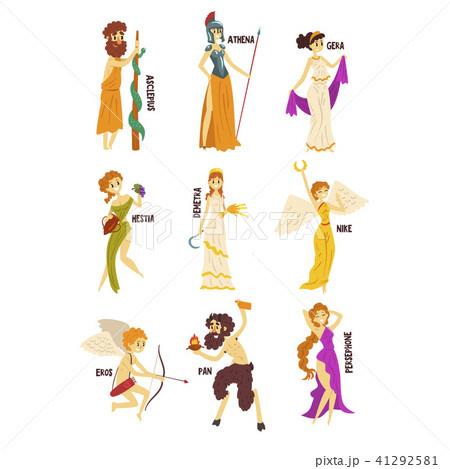 olympian greek gods set persephone nike demetra hestia gera