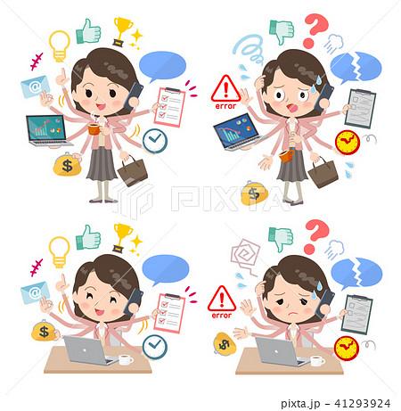 Pink jacket Middle women_mulch task Office 41293924