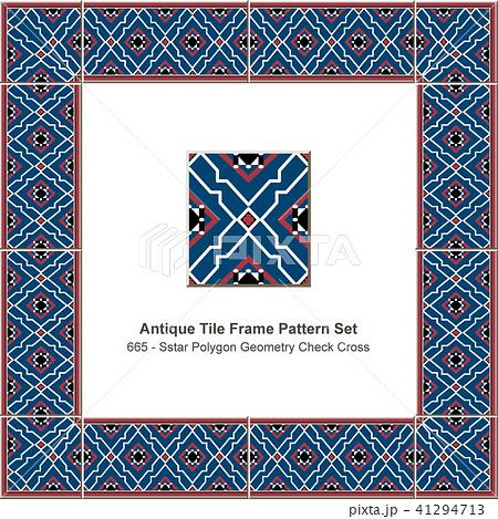 Antique ceramic retro tile frame pattern set 41294713