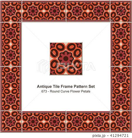 Antique ceramic retro tile frame pattern set 41294721