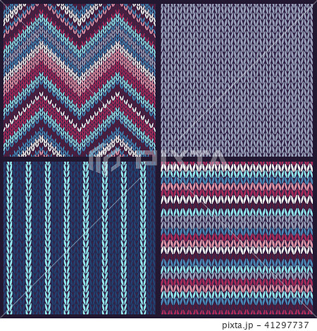 seamless knitted pattern set of color backgroundsのイラスト素材