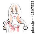花のネイル ロングヘア ピンクのドレス 41307533
