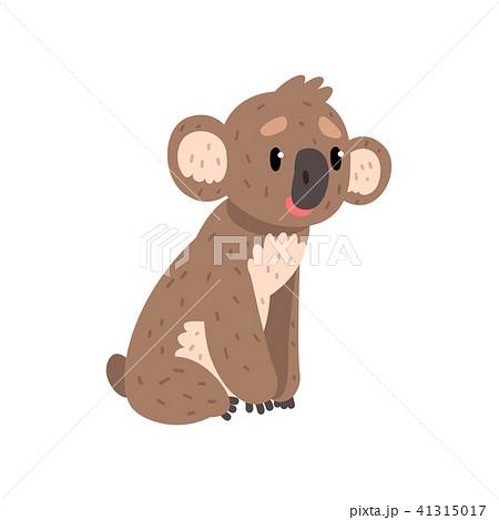 Koala bear sitting on the ground, cute Australian marsupial animal character vector Illustrations on 41315017