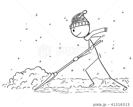 cartoon of man with snow pusher shoveling the snowのイラスト素材
