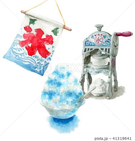 水彩で描いたかき氷と氷かき機 41319641