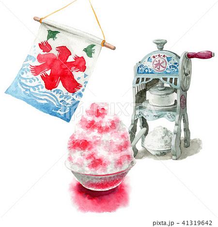水彩で描いたかき氷と氷かき機 41319642