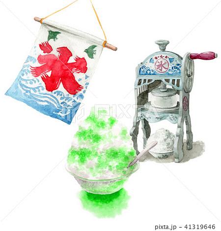 水彩で描いたかき氷と氷かき機 41319646