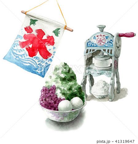 水彩で描いたかき氷と氷かき機 41319647