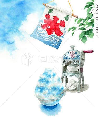 水彩で描いたかき氷と氷かき機と青空 41319767
