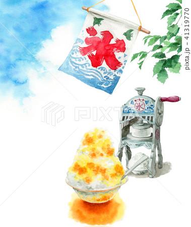 水彩で描いたかき氷と氷かき機と青空 41319770