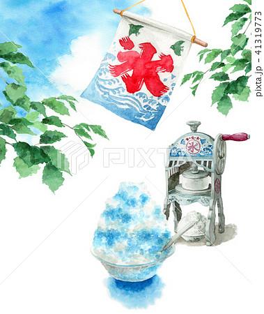 水彩で描いたかき氷と氷かき機と青空 41319773