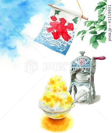 水彩で描いたかき氷と氷かき機と青空 41319931