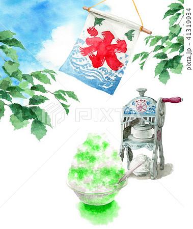 水彩で描いたかき氷と氷かき機と青空 41319934