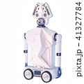 Robot toy on wheels for kid. White plastic robotic device. 41327784