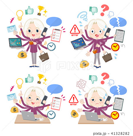 purple shirt old women White_mulch task Office 41328282