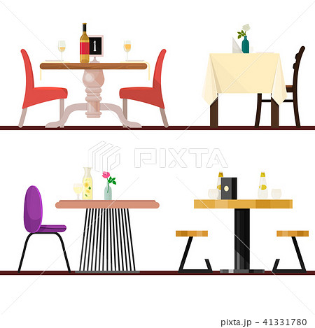 cafe tables in restaurant setting vector dining furniture table and
