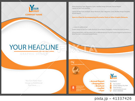 flyer template with abstract orange shapesのイラスト素材 41337426