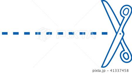はさみ カット 美容室 切り取り線のイラスト素材 41337458 Pixta
