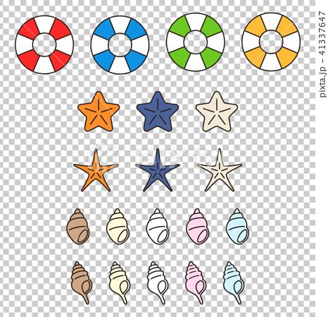 浮き輪・ヒトデ・貝殻のパーツセット 41337647