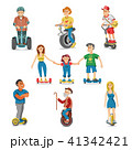 People on electric transport hoverboard segway vector set characters driving on gyroscooter and man 41342421